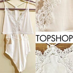 TOPSHOP White Cream Lace Bodysuit Top NWT SIZE 8